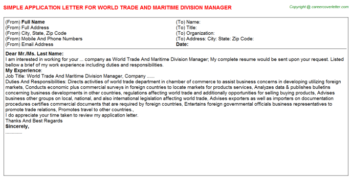 World trade and maritime division manager job application letter (#2590)