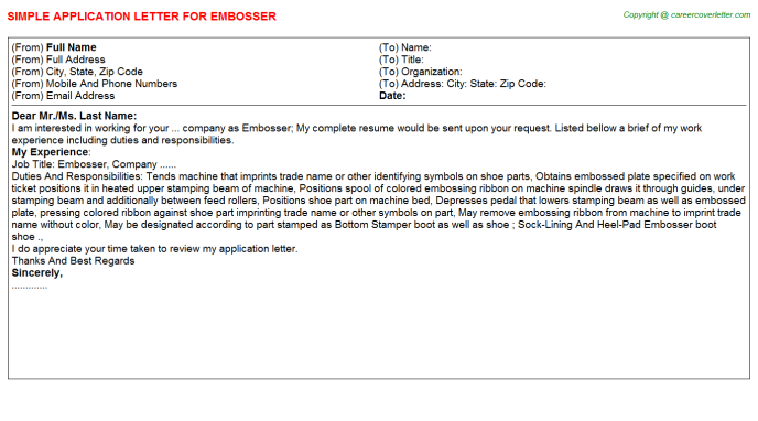 Embosser Application Letter Template