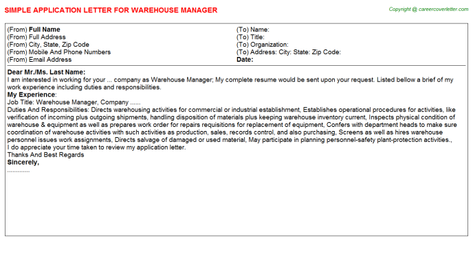 Warehouse Manager Application Letter Template