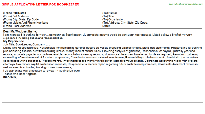 Bookkeeper Job Application Letter Template