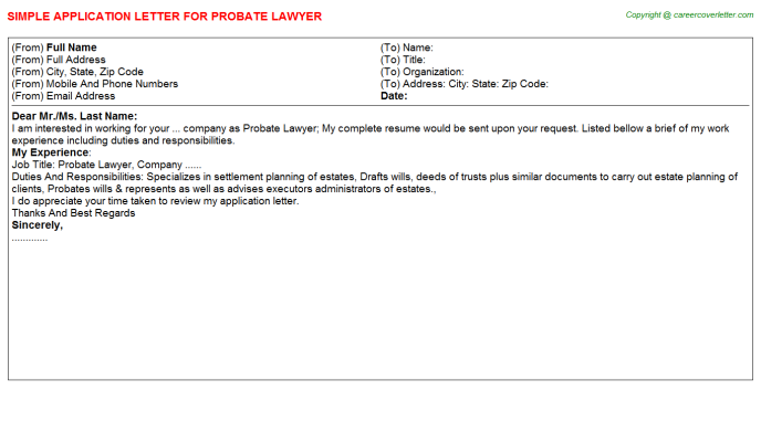 Probate Lawyer Job Application Letter Template