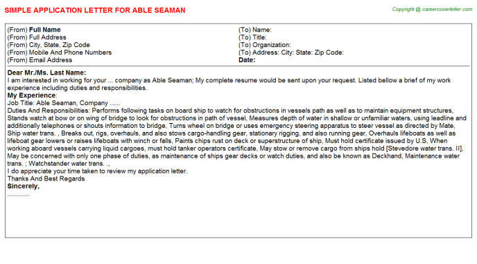 seaman application letters
