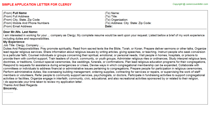 Clergy Job Application Letter Template