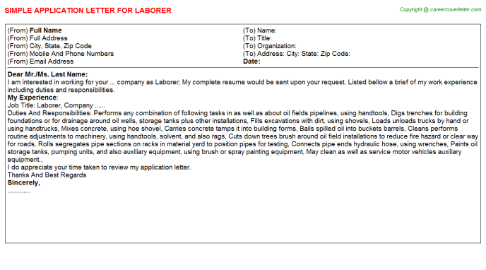 Laborer Application Letter Template