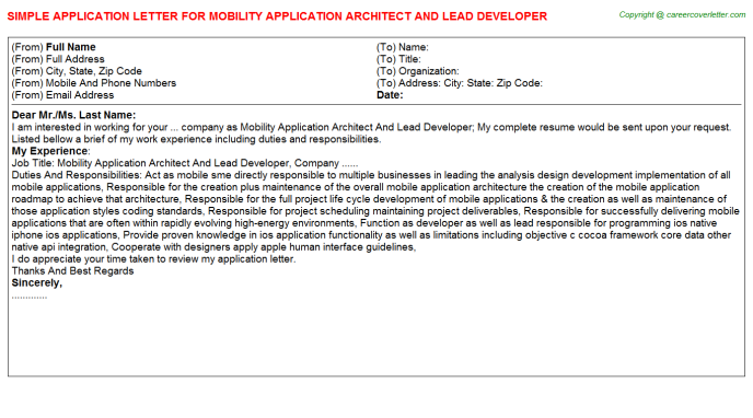 Mobility application architect  and lead developer job application letter (#25594)