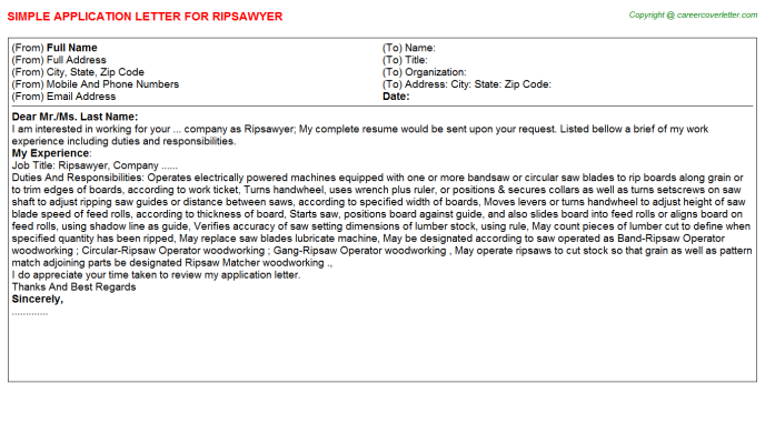 Ripsawyer Job Application Letter Template