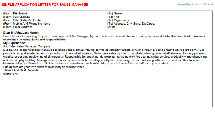 Sales Manager Application Letter Template