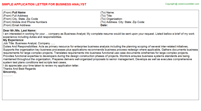 business analyst application letter