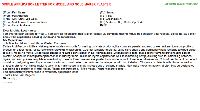 Model And Mold Maker Plaster Job Application Letter Template