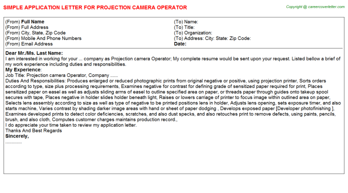 Projection Camera Operator Job Application Letter Template