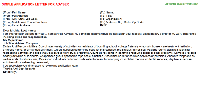 Adviser Job Application Letter Template