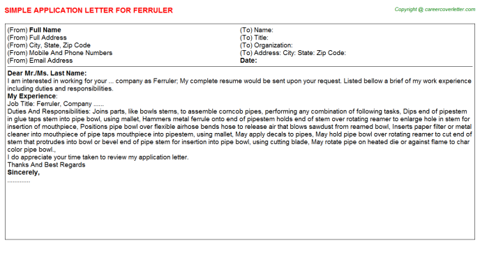 Ferruler Application Letter Template