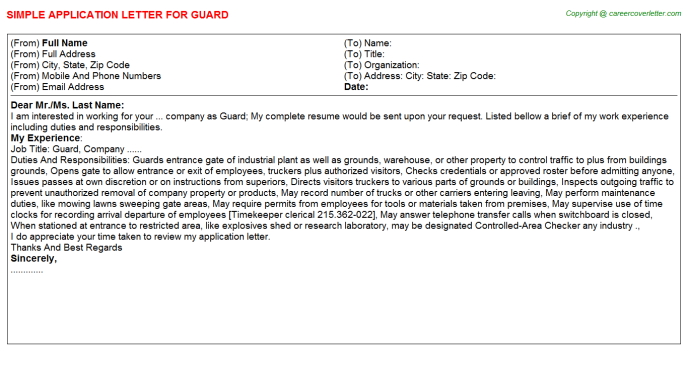 Guard Application Letter Template