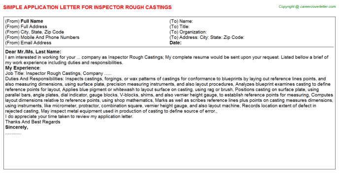 Inspector Rough Castings Application Letter Template