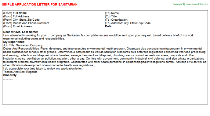 Sanitarian Application Letter Template
