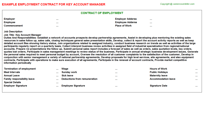 Key Account Manager Employment Contract Template