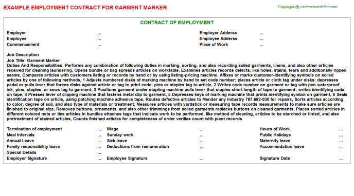 Garment Marker Employment Contract Template