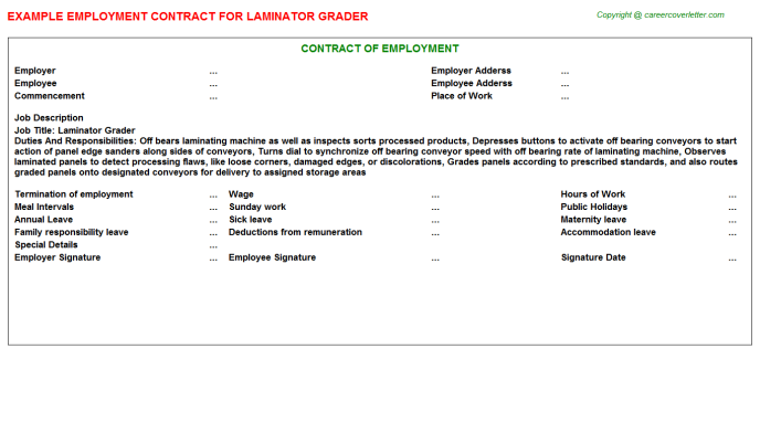 Laminator Grader Employment Contract Template