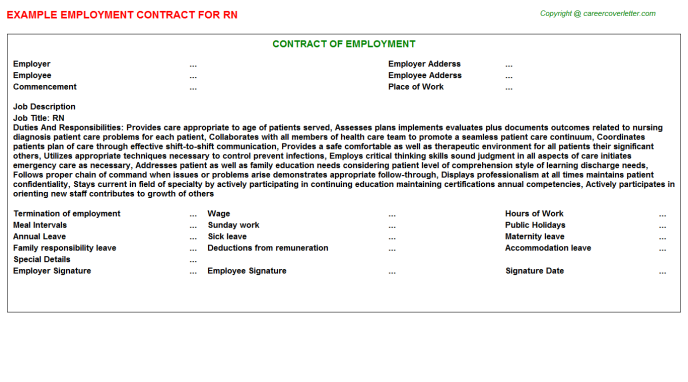 RN Job Employment Contract Template