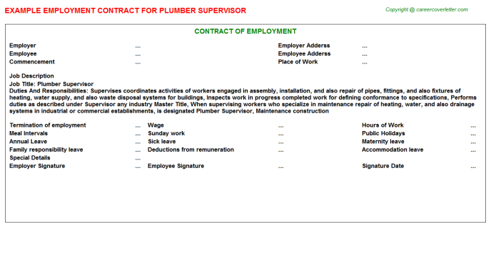 Plumber Supervisor Employment Contract Template