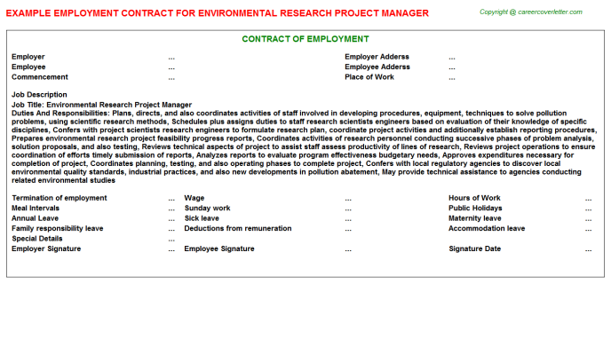 Environmental Research Project Manager Employment Contract Template