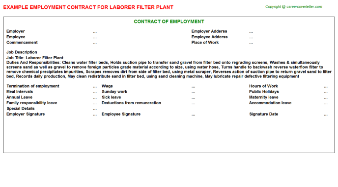 Laborer Filter Plant Employment Contract Template