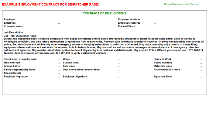 dispatcher radio employment contract template