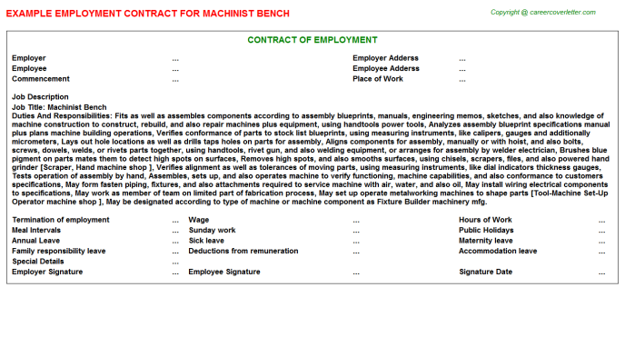 machinist bench employment contract template