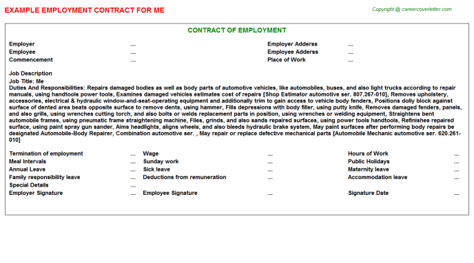 Me Job Employment Contract Template