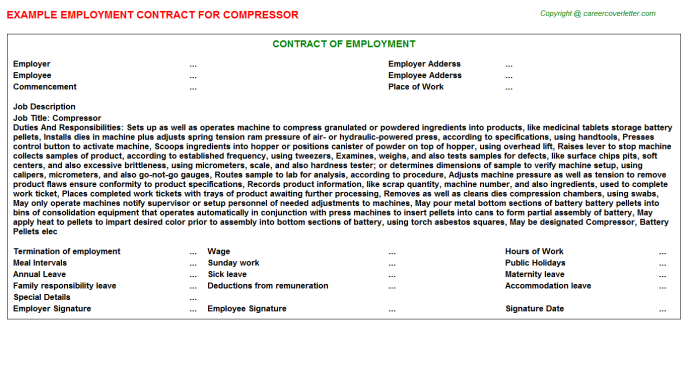 Compressor Employment Contract Template