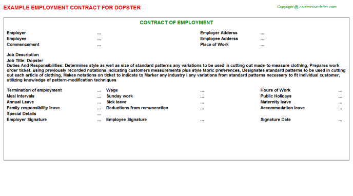 Dopster Employment Contract Template
