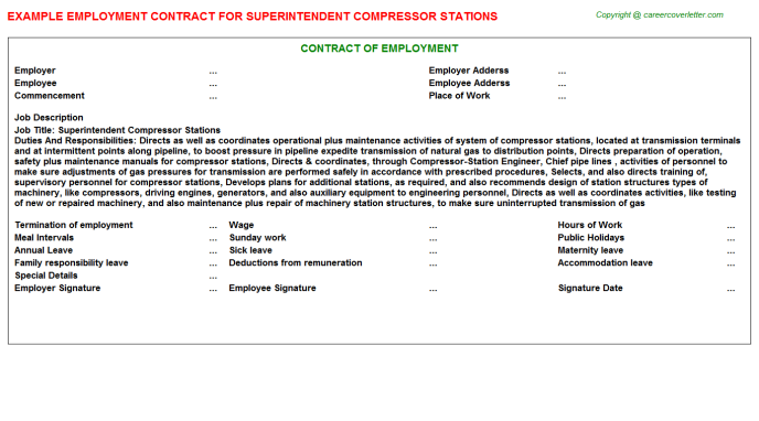 Superintendent Compressor Stations Employment Contract Template