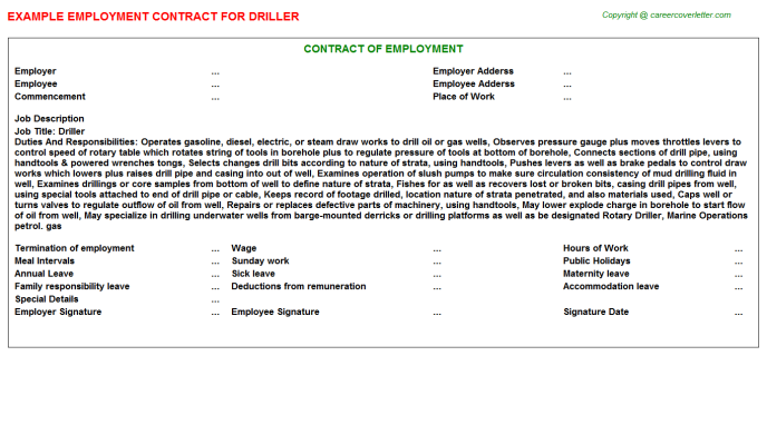 Driller Employment Contract Template