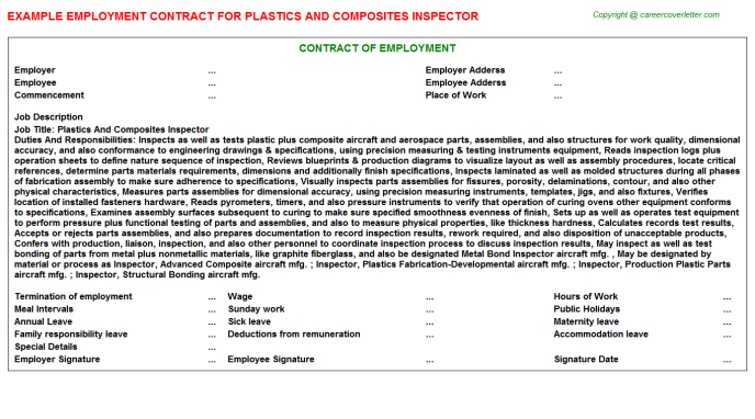 Plastics And Composites Inspector Job Employment Contract Template