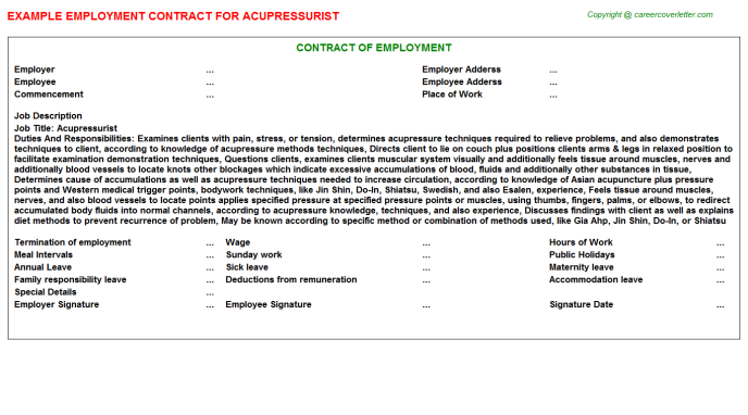 Acupressurist Employment Contract Template