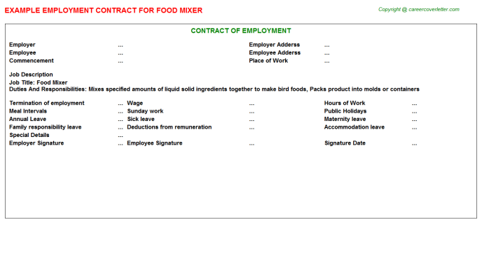 Food Mixer Employment Contract Template