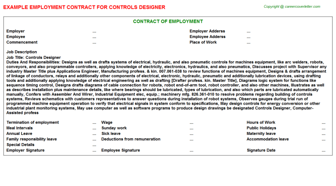 Controls Designer Employment Contract Template
