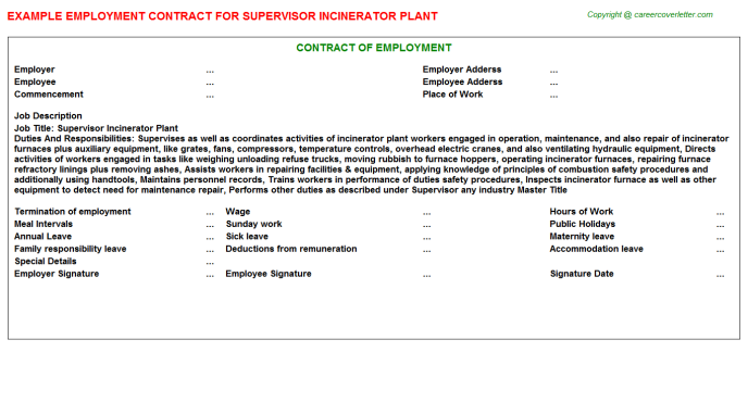 Supervisor Incinerator Plant Employment Contract Template