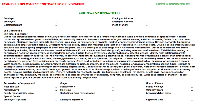 Fundraiser Employment Contract Template