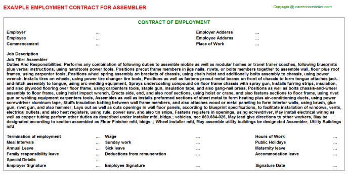 Assembler Job Employment Contract Template