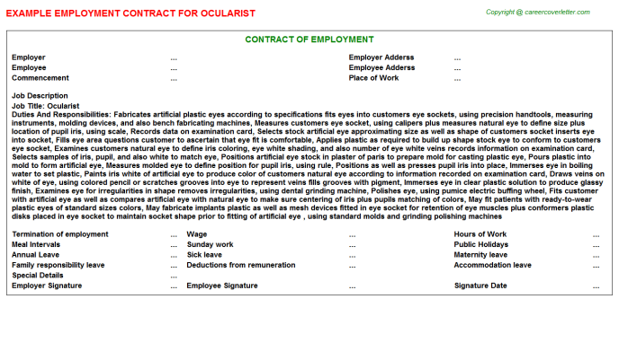 Ocularist Employment Contract Template