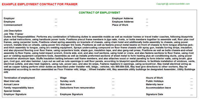 Framer Job Employment Contract Template
