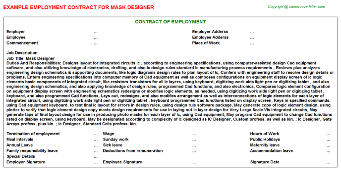 Mask Designer Employment Contract Template