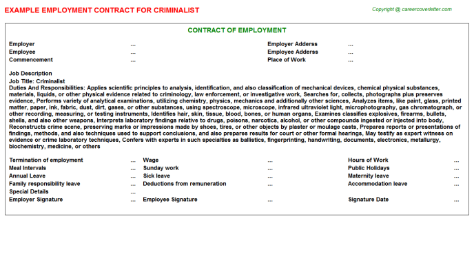 Criminalist Job Employment Contract Template