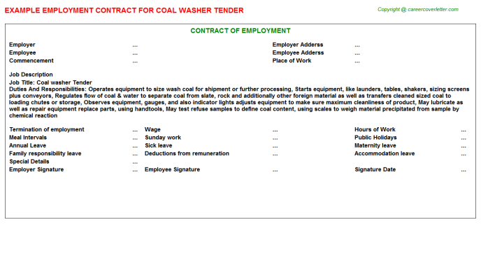 Coal Washer Tender Employment Contract