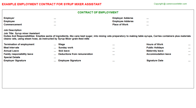 syrup mixer assistant employment contract template