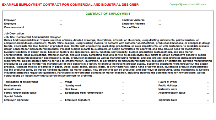 Commercial And Industrial Designer Employment Contract Template