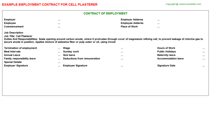 cell plasterer employment contract template