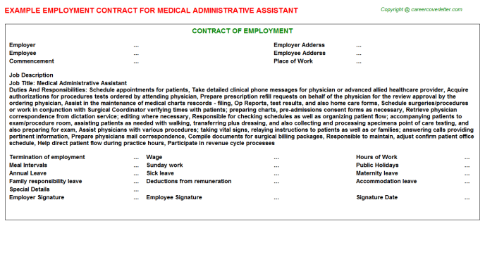 Medical Administrative Assistant Employment Contract Template
