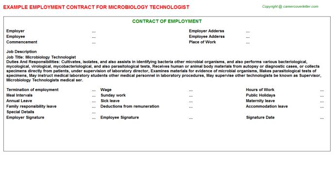 Microbiology Technologist Employment Contract Template